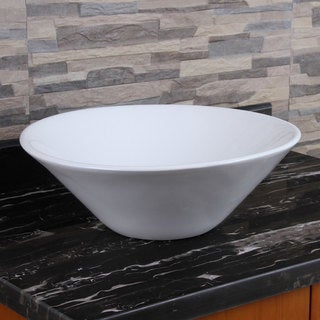 ELIMAX'S 303 Unique Funnel Shape White Porcelain Ceramic Bathroom Vessel Sink