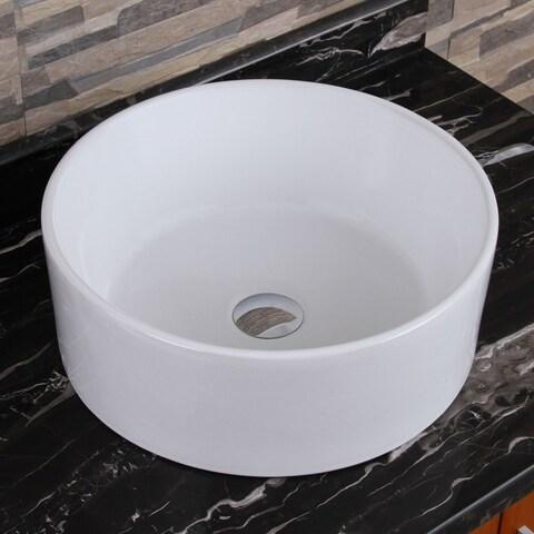 Elite Elimax 04 Round Shape White Porcelain Ceramic Bathroom Vessel Sink