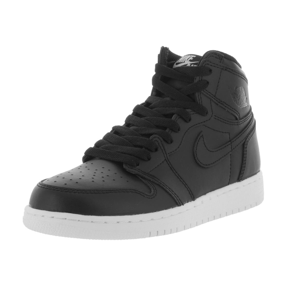 Nike Kid's Air Jordan 1 Retro High Og Bg Black/Black/White Basketball Shoe (6), Boy's (leather)