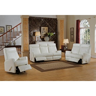 Toledo White Top Grain Leather Lay-Flat Reclining Sofa, Loveseat, and Chair Set