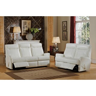 Toledo White Top Grain Leather Lay-Flat Reclining Sofa and Loveseat Set