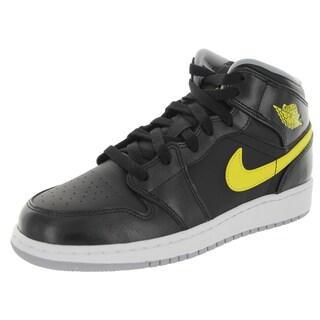 Nike Jordan Kid's Air Jordan 1 Mid Bg Black/Vibrant Yellow/Wolf Grey Basketball Shoe