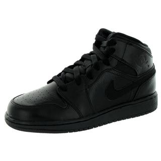 Nike Jordan Kid's Jordan 1 Mid Bg Black Basketball Shoe