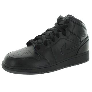 Nike Jordan Kid's Air Jordan 1 Mid Bg Black/Black/Dark Grey Basketball Shoe