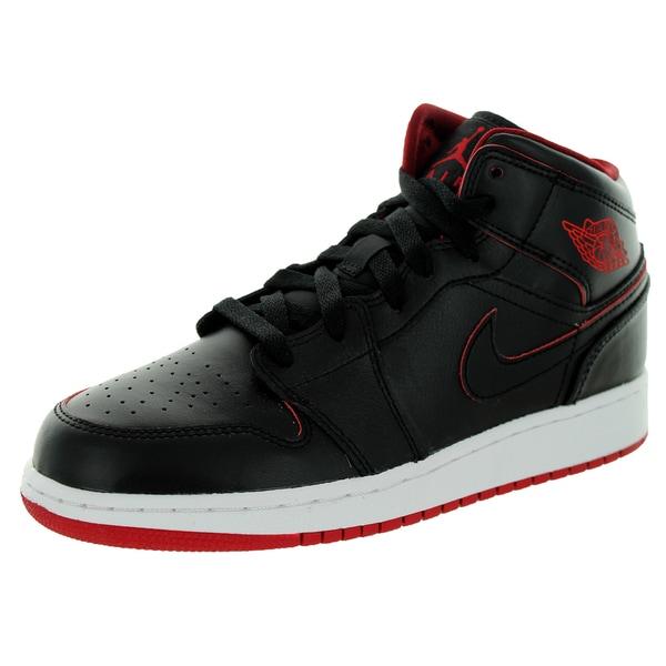 7d49cf54c7e981 Shop Nike Jordan Kid s Air Jordan 1 Mid Bg Black Black White Gym Red ...
