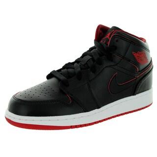 Nike Jordan Kid's Air Jordan 1 Mid Bg Black/Black/White/Gym Red Basketball Shoe