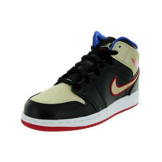 Nike Jordan Kid's Air Jordan 1 Mid Bg Black/Gym Rd/ Gld Str/ Basketball Shoe