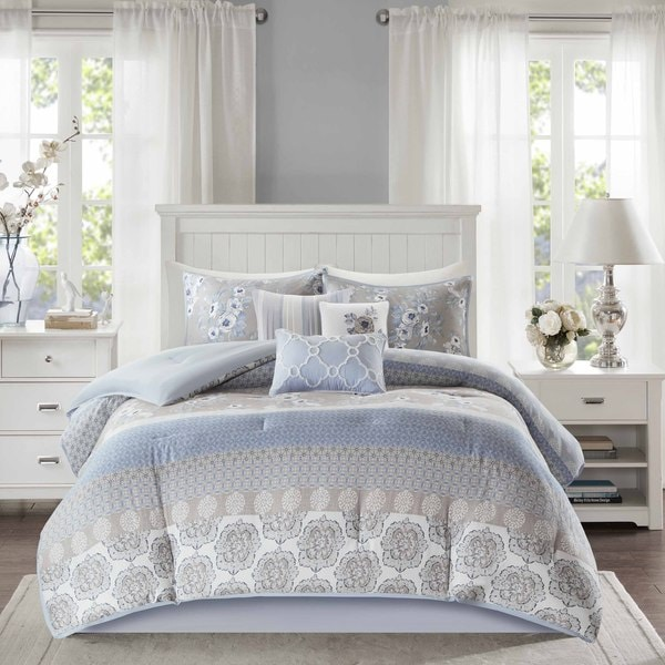 madison park felicity blue cotton comforter set