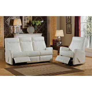 Toledo White Top Grain Leather Lay-Flat Reclining Sofa and Chair Set