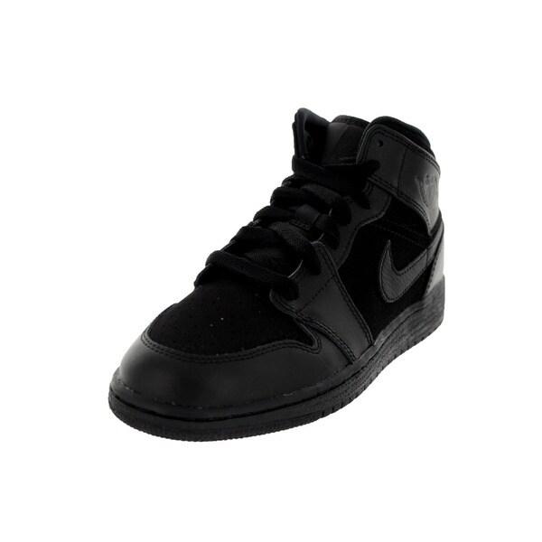eb61596ad08c94 Shop Nike Jordan Kid s Air Jordan 1 Mid Bg Black Basketball Shoe ...