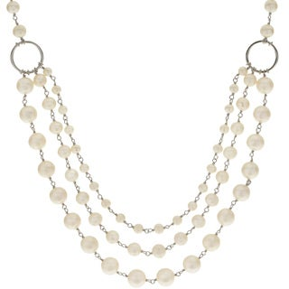 Pearls For You Sterling Silver 3-string Bib-style White Freshwater Pearl Necklace