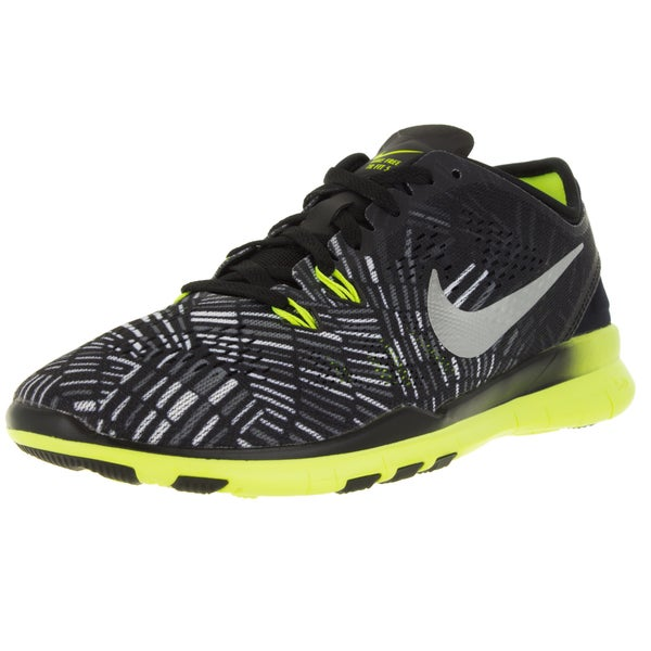 size 40 74b28 876ad ... Women s Athletic Shoes. Nike Women  x27 s Free 5.0 Tr Fit 5 Prt Black  Metallic Silver