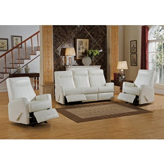 Toledo White Top Grain Leather Lay-Flat Reclining Sofa and Two Chair Set