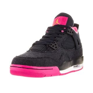 Nike Jordan Kid's Air Jordan 4 Retro Gg Drk Obsdn/Mlc Gld/Vvd Pink/Wh Basketball Shoe