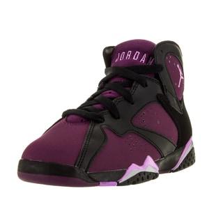 Nike Jordan Kid's Jordan 7 Retro Gp Black/Fchs Glow/Mlbrry/Wlf Basketball Shoe
