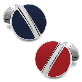 Blue/Red Stainless Steel Reversible Cufflinks