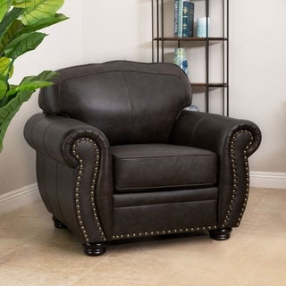 Abbyson Richfield Brown Top Grain Leather Armchair