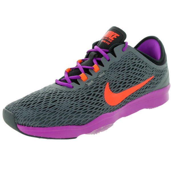 74fbd7c64106 Shop Nike Women s Zoom Fit Dark Grey  Orange Vvd Purple Training ...