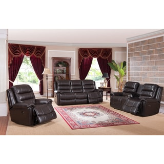 Astoria Top Grain Leather Lay-Flat Power Reclining Sofa, Loveseat, and Chair Set with Memory Foam and USB Ports