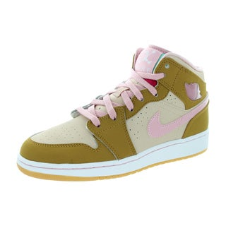Nike Jordan Kid's Air Jordan 1 Mid Wb Gg Wheat/Pink Glaze/Shimmer Basketball Shoe