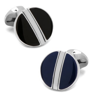 Men's Black/Navy Stainless Steel Reversible Cufflinks