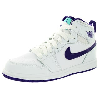 Nike Jordan Kid's Jordan 1 Retro High Gp Whiteurplee/White Basketball Shoe
