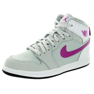Nike Jordan Kid's Jordan 1 Retro High Gp Grey Mist/Fchs Flash/White/Black Basketball Shoe