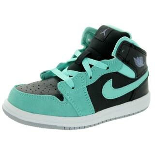 Nike Jordan Kid's Jordan 1 Mid Gt Black/I Purple/Blchd Trq/Wlf Basketball Shoe