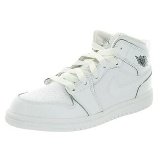 Nike Jordan Kid's Jordan 1 Mid Bp White/Cool Grey/White Basketball Shoe