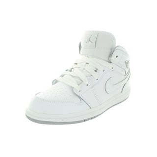 Nike Jordan Kid's Jordan 1 Mid Bp White/White/Wlf Basketball Shoe