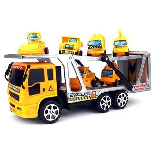 Velocity Toys Construction Tow Trailer Toy Truck with Mini Toy Construction Trucks