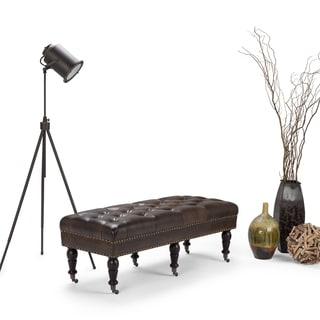 WYNDENHALL Donovan Distressed Brown Bonded Leather Tufted Ottoman Bench