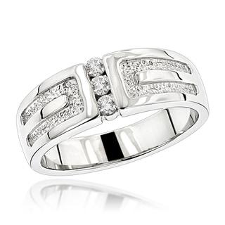 Luxurman 14K Gold Men's Diamond Wedding Ring 0.24ct