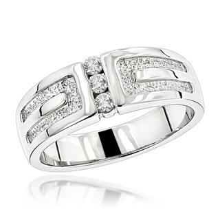 Luxurman 14K Gold Men's Diamond Wedding Ring 0.24ct|https://ak1.ostkcdn.com/images/products/12322620/P19155471.jpg?impolicy=medium