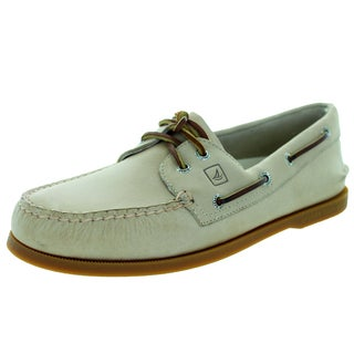 Sperry Top-Sider Men's Authentic Original Buished Leather 2-Eye Ivory Boat Shoe