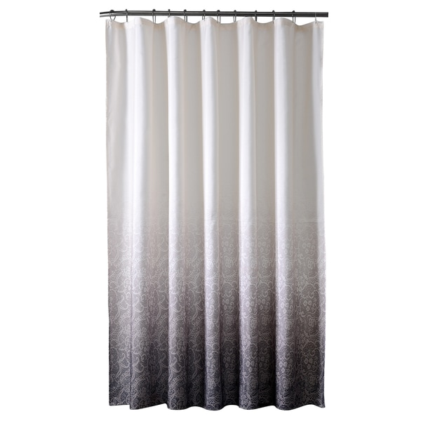 Bath Bliss Polyester Lace Printed Ombre Shower Curtain in Black