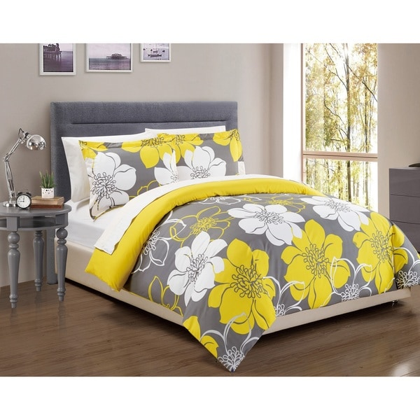 Chic Home 7-Piece Celosia Yellow Bed in a Bag Duvet Cover Set