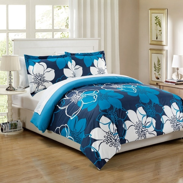 Chic Home 7-Piece Celosia Blue Bed in a Bag Duvet Cover Set