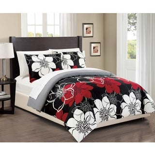 Chic Home 7-Piece Celosia Black Bed in a Bag Duvet Cover Set