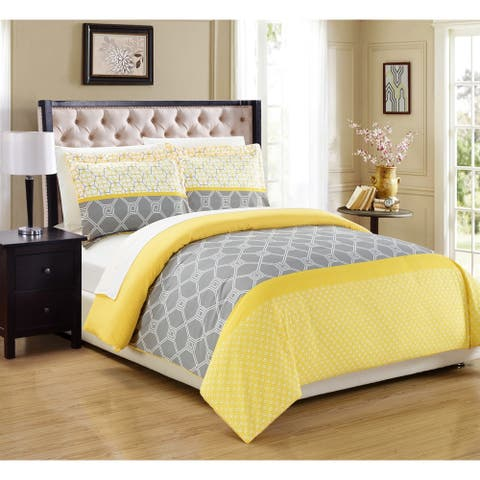 Chic Home 3-Piece Malene Yellow Duvet Cover Set