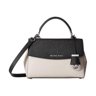 Michael Kors Ava Colorblock Cement/Black Small Top Handle Satchel Handbag