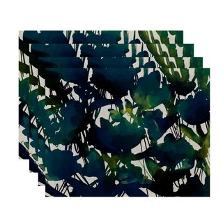 18x14-inch, Abstract Floral, Floral Print Placemat (Set of 4)