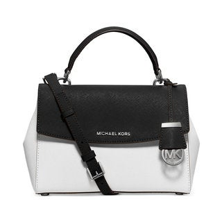 Michael Kors Ava Colorblock White/Black Small Top-handle Satchel Handbag