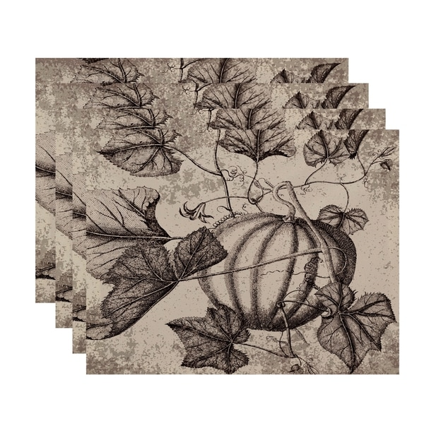18x14-inch, Antique Pumpkin, Floral Print Placemat (Set of 4)
