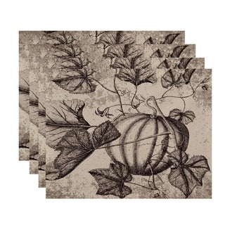 18x14-inch, Antique Pumpkin, Floral Print Placemat (Set of 4)