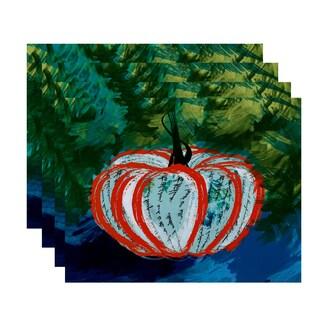 18x14-inch, Artistic Pumpkin, Geometric Print Placemat (Set of 4)