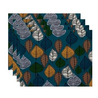 18x14-inch, Autumn Leaves, Floral Print Placemat (Set of 4)