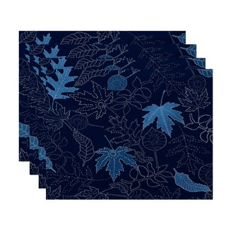 18x14-inch, Dotted Leaves, Floral Print Placemat (Set of 4)