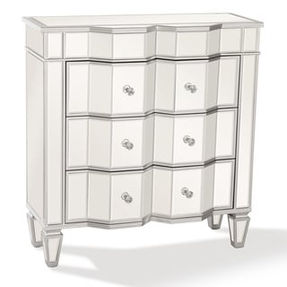 Elegant Mirrored Accent Chest Marquis, 36 x 34 In, Silver