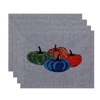 18x14-inch, Paper Mache Pumpkins, Geometric Print Placemat (Set of 4)